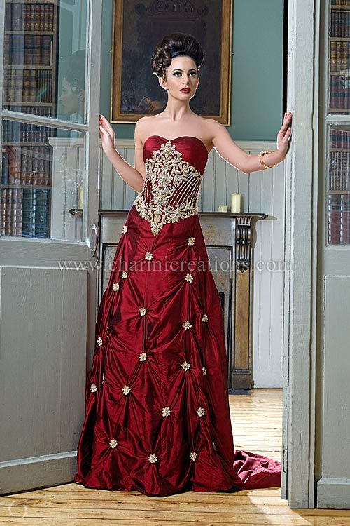 Reception Dresses - Red two tone raw silk fusion wedding gown with gold jardosi embroidery and a short train