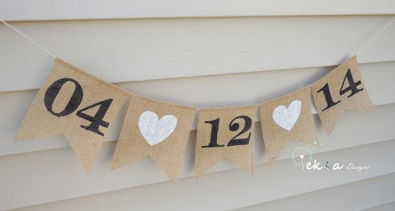 Cute for a bridal shower! Save the date Burlap Banner / wedding date banner by ekaSpreadLove, $20.00