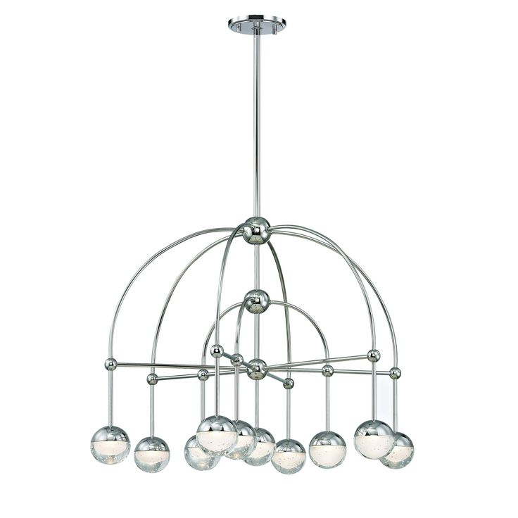 Hudson Valley Boca 10-light Polished Nickel LED Chandelier, Clear, Etched Glass Shade, Gray, Hudson Valley Lighting