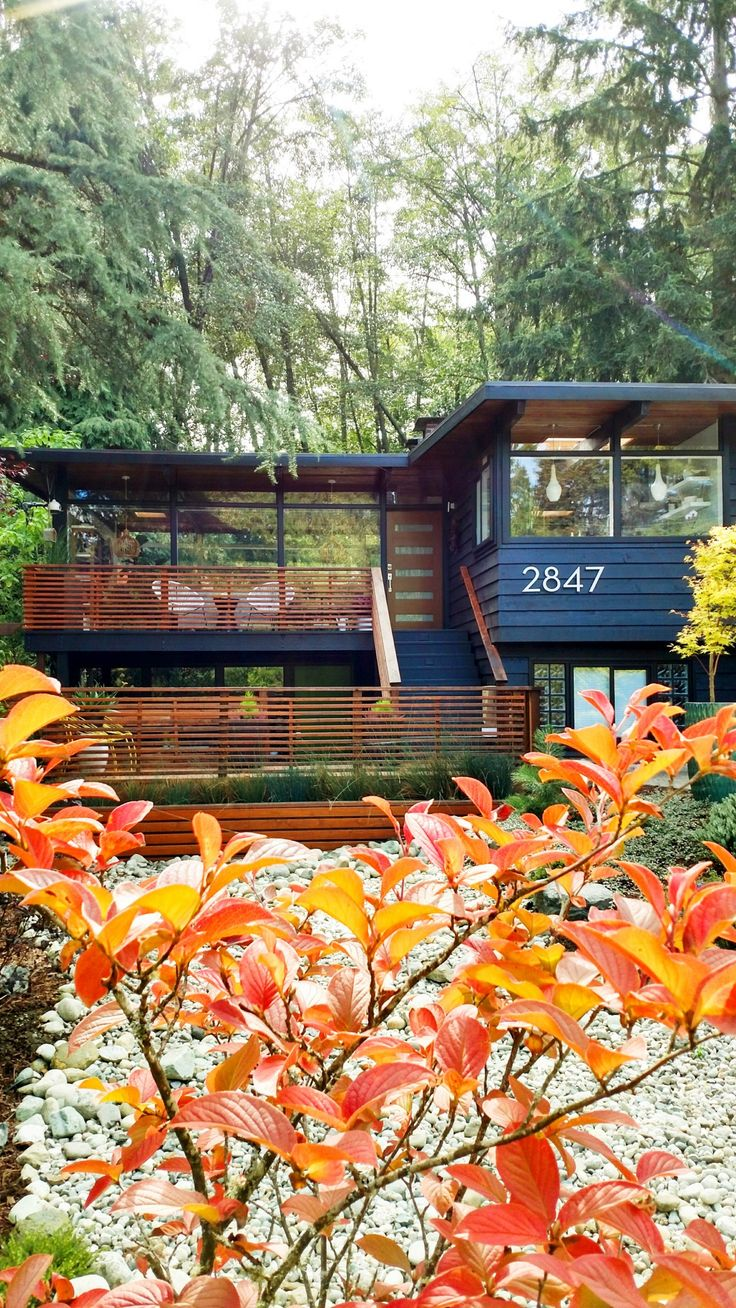 This couple made the outdoors the main focus in their 1958 John Burrows house, from the large, picture windows to the natural wood details.