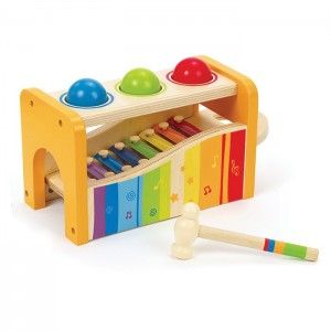 Hape - Early Melodies Pound and Tap Bench: Beautifully constructed from wood and metal, this combination xylophone and hammer bench has easy grip handles, wooden balls and hammer. Encourages understanding of cause and effect, provides visual and auditory input and supports fine motor development. #alltotstreasures #hape #earlymelodiespoundandtapbench #woodentoys #music #xylophone #hammerbench