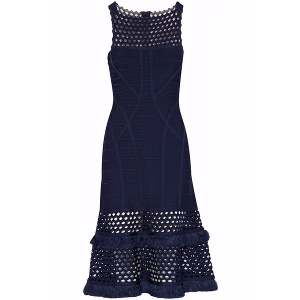 Hervé Léger Laser cut-paneled fringed bandage dress (2.560 BRL) ❤ liked on Polyvore featuring dresses, midnight blue, fringe dress, blue dress, hervé léger, piping dress and blue bandage dress