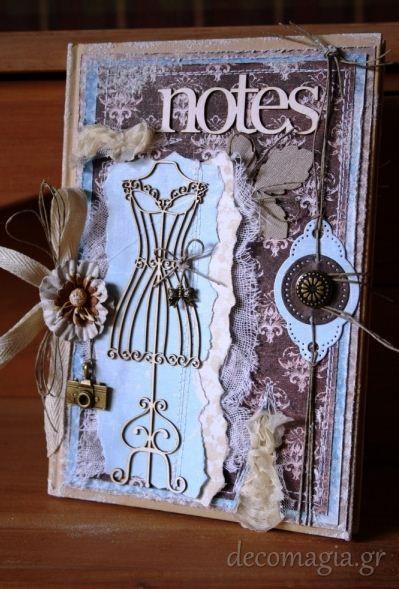 Notebook with scrapbooking~Σημειωματάριο με scrapbooking