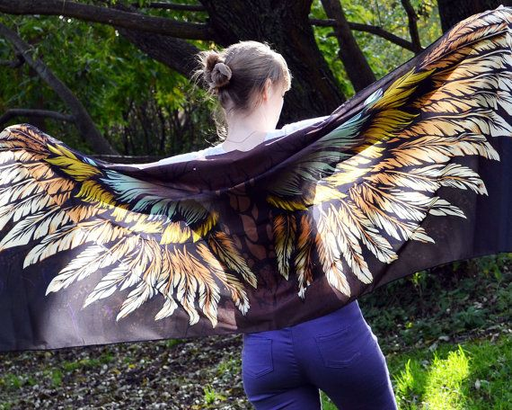 Chocolate Brown Scarf Shawl for Women, Silk Long Scarf, Huge Scarf, Giant Scarf, Super Wings Scarf, Winged Scarves, Shawls Silk Winged Gift