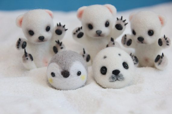 Needle felted kawaii animal cute animal white seal by iFeltify