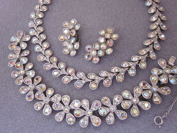 Vintage bogoff flower rhinestone set bogoff necklace for Bogoff vintage costume jewelry