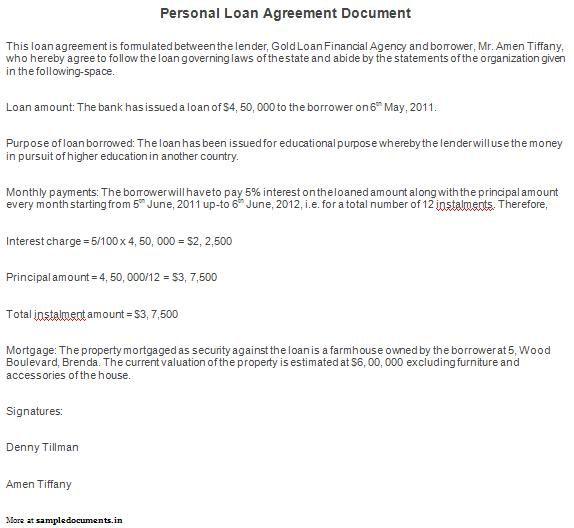 Printable Sample Personal Loan Agreement Form