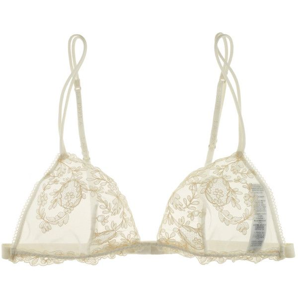 La Perla Donna Angelica Triangle Lace Bra (1.810 NOK) ❤ liked on Polyvore featuring intimates, bras, lingerie, underwear, tops, transparent lingerie, sheer lace lingerie, see through lingerie, lacy lingerie and see through bras