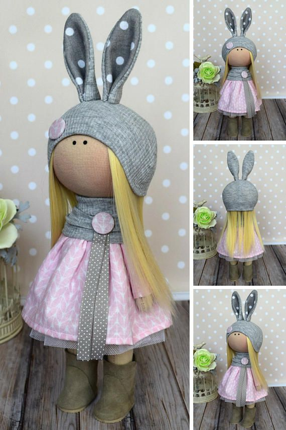 Rabbit Doll Rag Doll Fabric Doll Handmade Doll Textile Doll Baby Doll Muñecas Tilda Doll Collection Gray Doll Soft Doll Poupée by Olga G _____________________________________________________________________________________  Hello, dear visitors!  This is handmade cloth doll created by Master Olga G (Vinnitsa, Ukraine). All dolls stated on the photo are mady by artist Olga G. You can find them in our shop searching by artist name. Here are all dolls of artist Elvira: https://www.etsy...