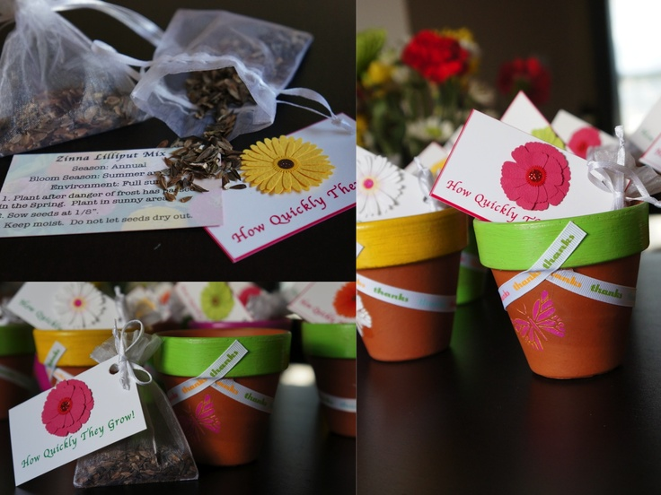Flower Garden Themed Bridal Shower : Garden theme favors painted terracotta pots with flower