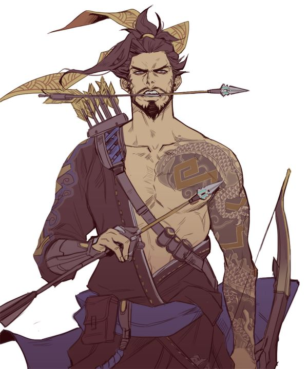 Hanzo fanart - found on Dodger (@dexbonus) | Twitter  don't know the name of the artist, but their work is dope :)