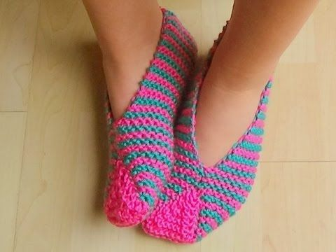 Cómo Tejer PANTUFLAS DE COLORES - Knitted Slippers in Colors 2 Agujas (378) - YouTube