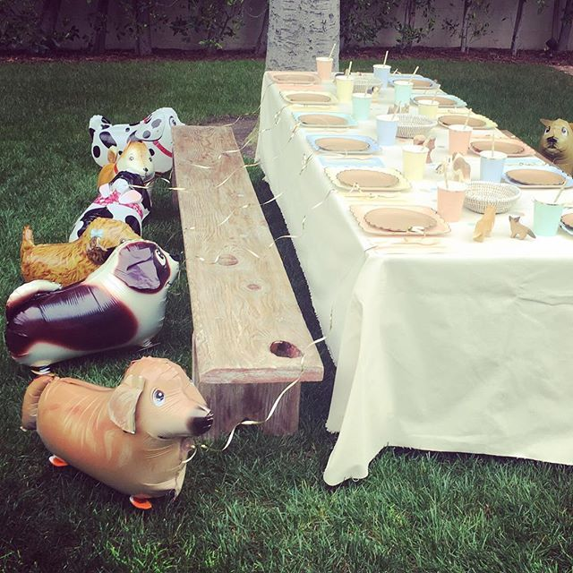 Yes you can bring your puppy to the party  #puppyparty #kidsparty #dogsballoons #fireancremekids #kidstableware #fireandcreme