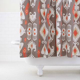 Grey Coral Ikat Shower Curtain