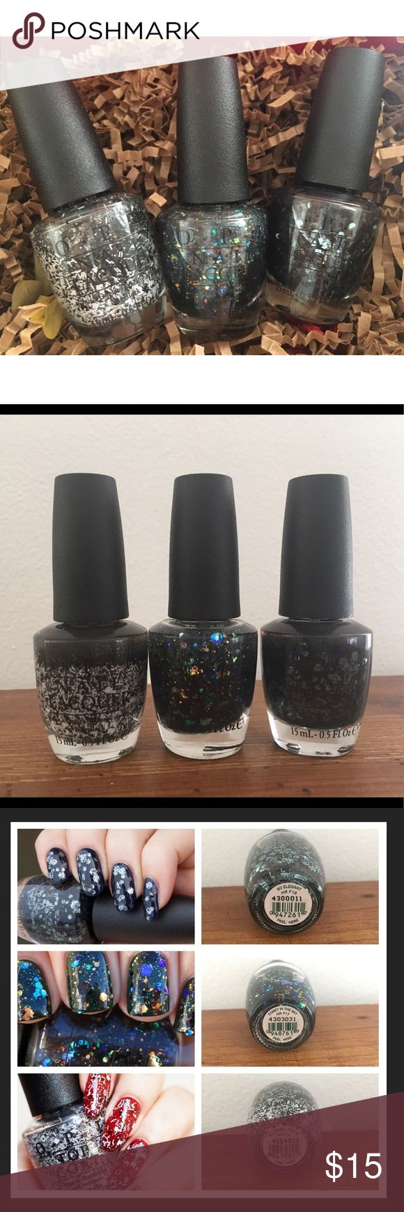 ⚡️Sale⚡️OPI 3 Nail Polish Brand New 💎 ⚡️Sale⚡️OPI 3 Nail Polish Brand New 💎 Top coats designs 😍 so elegant, comet in the sky, & ill tinsel you in. OPI Other