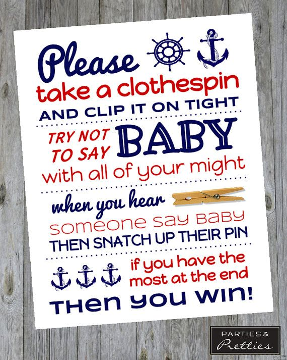 baby shower game don 39 t say baby clothespin nautical matches ahoy