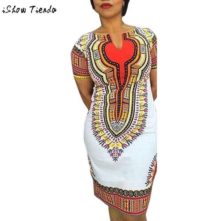 Abbigliamento africano Per Le Donne Donne Manica Corta Stampa Africano Abiti Ropa Africana Mujer #2804