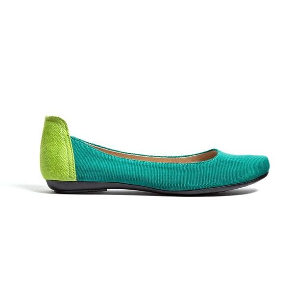 Teal and Lime Green Ballet Flats - FINAL SALE