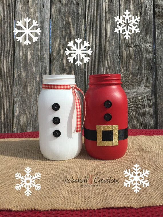 Santa Claus and Snowman Mason Jars Holiday by RebekahCreations