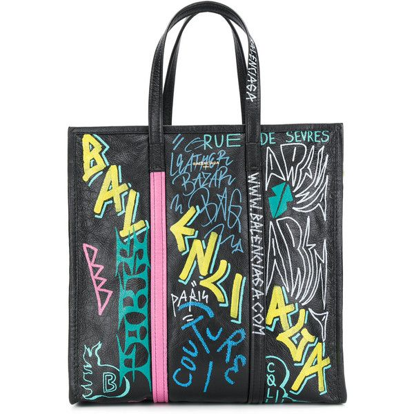 Balenciaga Bazar Graffiti Shopper M (28.457.445 IDR) ❤ liked on Polyvore featuring bags, handbags, tote bags, black, leather zip tote, leather shopper bag, zippered tote bag, shopping bag and balenciaga tote