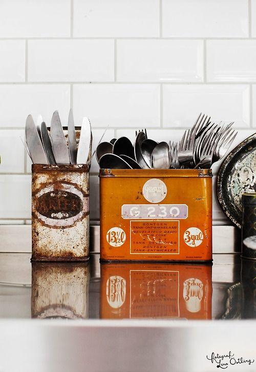 Repurposed old tins.