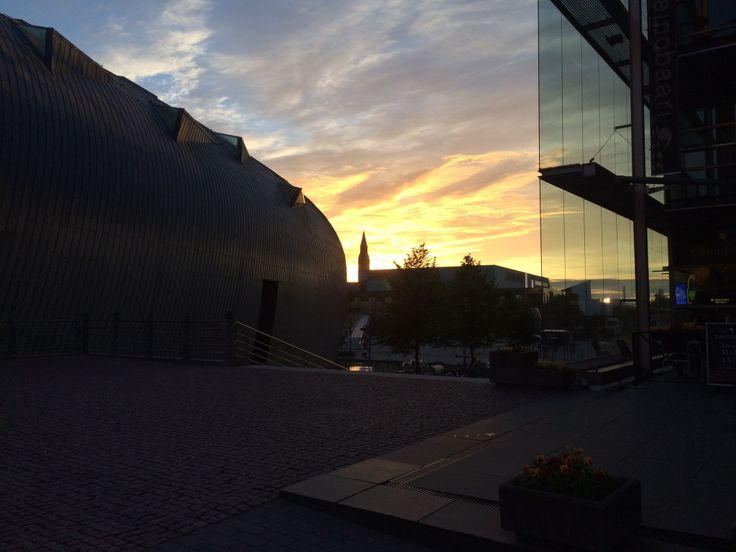 Sunset in Helsinki Downtown.