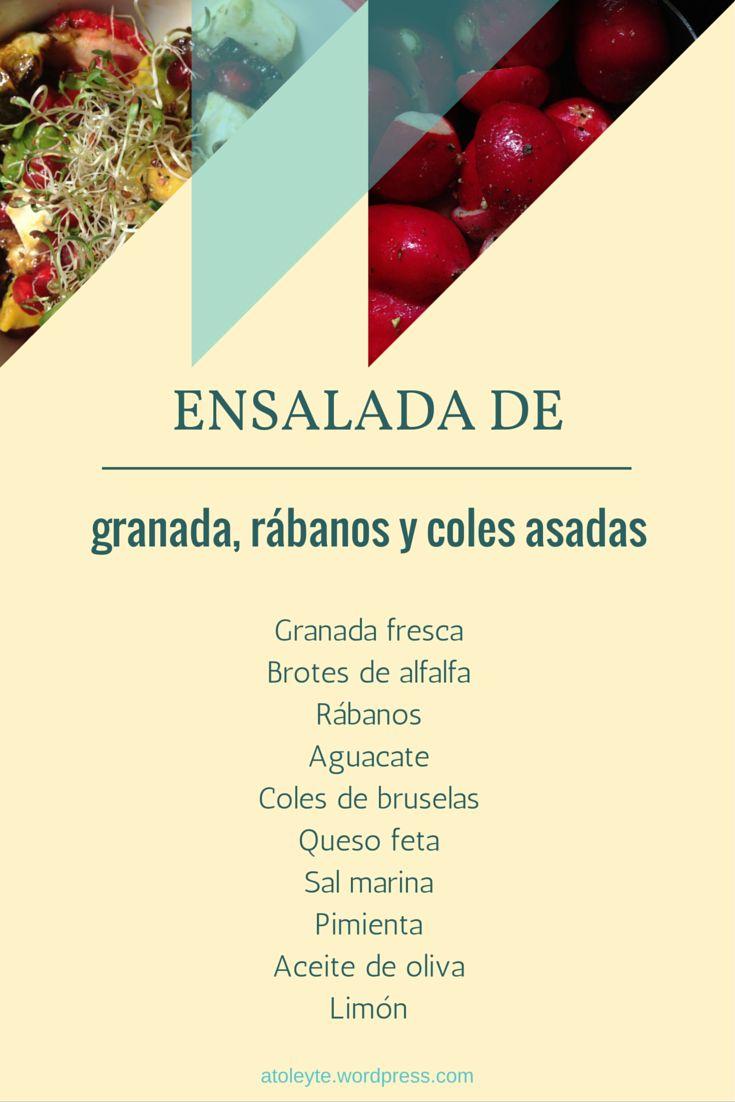 Receta e ingredientes de ensalada saludable y fit de granada, rábano y coles asadas