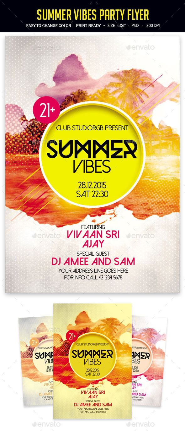 Summer Vibes Party Flyer | Party flyer, Summer vibes and
