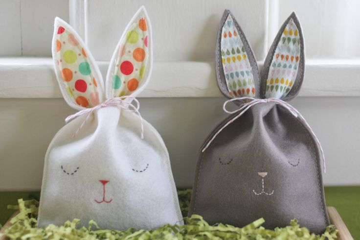 felt bunny candy pouches -- getting ready for Easter!