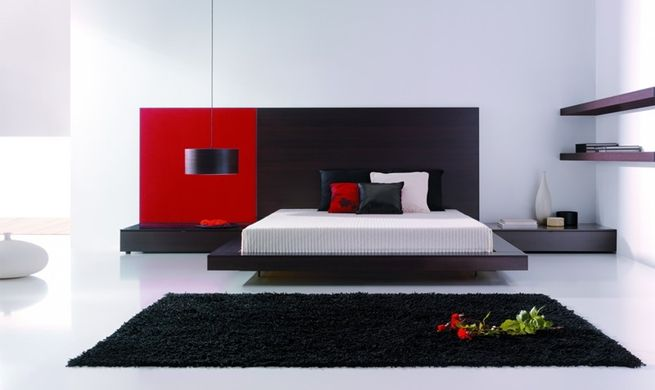 Decoración en blanco, negro y rojo