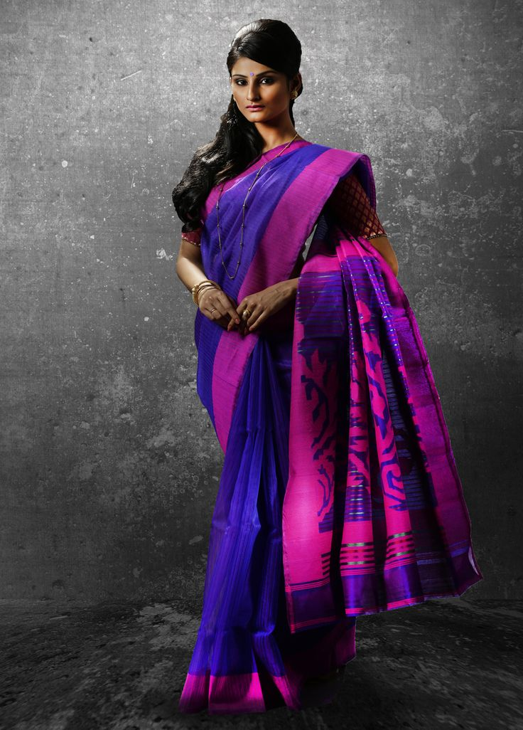 Blue and pink Printed Silk Saree Code F3018