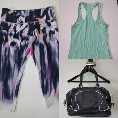 Lululemon Size 6 Lot Tie Dye Crops Racerback Tank Gym Bowler Bag Yoga Top Pants