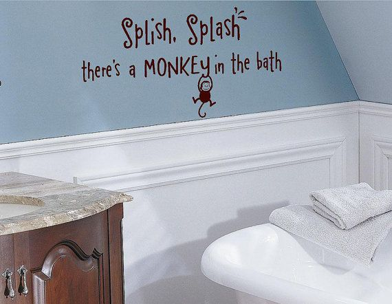 Splish splash there 39 s a monkey in the bath kids vinyl for Money bathroom decor