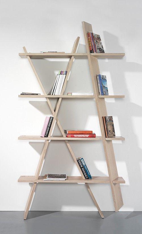 modern, design wood, oak  bookshelves, book racks