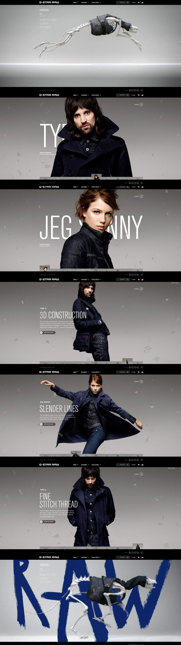 G-Star RAW, 17 September 2013. http://www.awwwards.com/web-design-awards/g-star-raw  #Fashion #Minimal #Flexible #CSS3 #HTML5 #Photography #FlatDesign