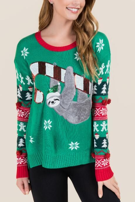 Fuzzy Sloth Tacky Pullover Sweater  teen teenage fashion style vacation beach college summer + spring womens outfits casual romper first day school fall + winter sweater christmas holiday winter  Disclosure: Please note the link is an affiliate link which means-at zero cost to you-I might earn a commission if you buy something through my links.