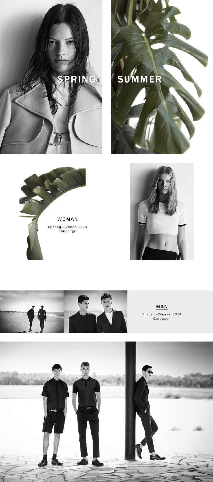 Email Campaign Layout / Zara S/S 2014 campaign, graphics design, photography, branding.