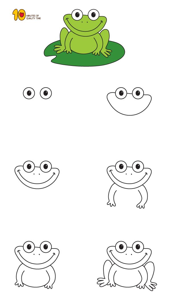 How To Draw a Frog Step by Step for Kids - 10 Minutes of ...