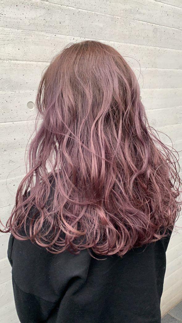 ニュアンス暖色系カラー 表参道高橋 紫 ヘアカラー パープルヘアー ヘアスタイル ロング