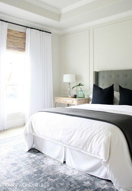 Crazy Wonderful - natural wood desk, desk as nightstand, natural bedside table, liming wax furniture makeover, bright white master bedroom