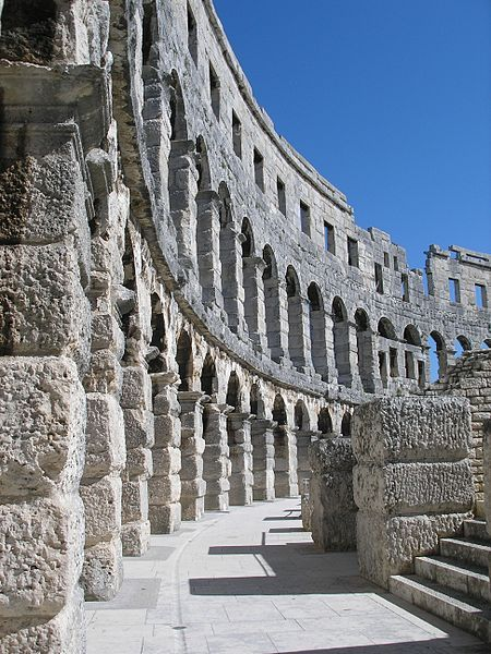The Pula Arena in Pula, Croatia is the only remaining Roman amphitheatre to have four side towers and with all three Roman architectural orders entirely preserved. It was constructed in 27 BCE - 68 CE and is among the six largest surviving Roman arenas in the World. #historical_site