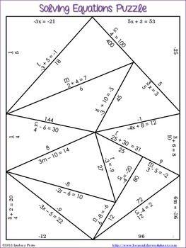 SOLVING EQUATIONS PUZZLE - TeachersPayTeachers.com