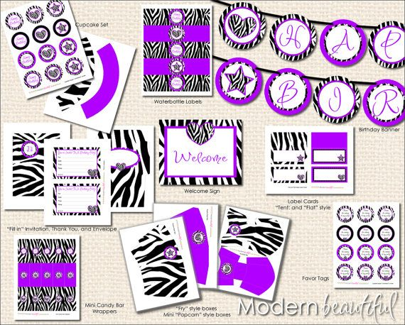 Printable Party Package Black and Purple Zebra by ModernBeautiful, $15.00