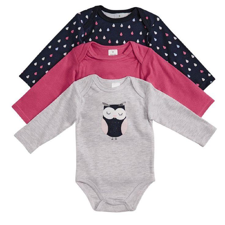 1x NB Hippo + Friends Baby Girl Bodysuit 3 Pack