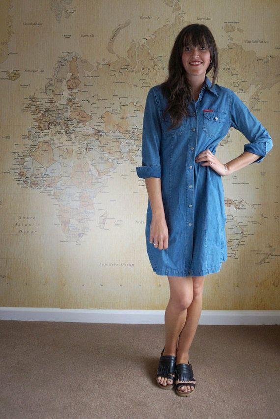 Denim Shirt Dress Mid Wash Oversized Denim by AdasAtticVintage