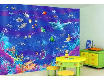 """""""Fishies"""". A wallpaper mural from Muralunique.com. This is an original painting from Birgit Schulz.  https://www.muralunique.com/fishies-105-x-8-320m-x-244m.html"""
