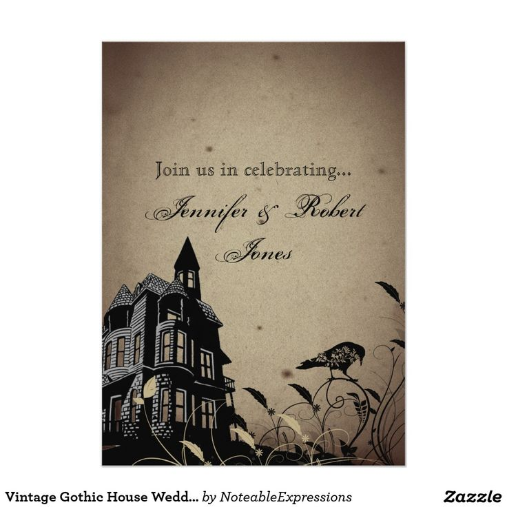Vintage Gothic House Wedding Anniversary Card The