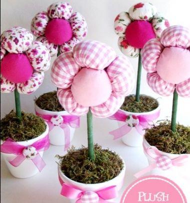 DIY spring centerpiece - plush flowers with pots // Pufi plüss virágok - cserepes virágok textilből // Mindy - craft tutorial collection //
