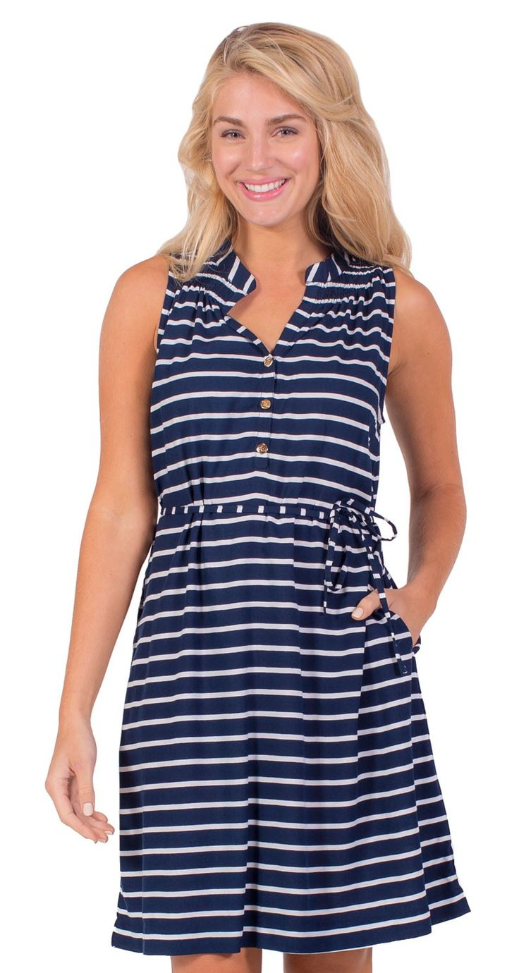 876 best beach wedding nautical wedding images on pinterest sleeveless kinsley dress this navy striped dress has a smocked neckline and gold buttons ombrellifo Image collections