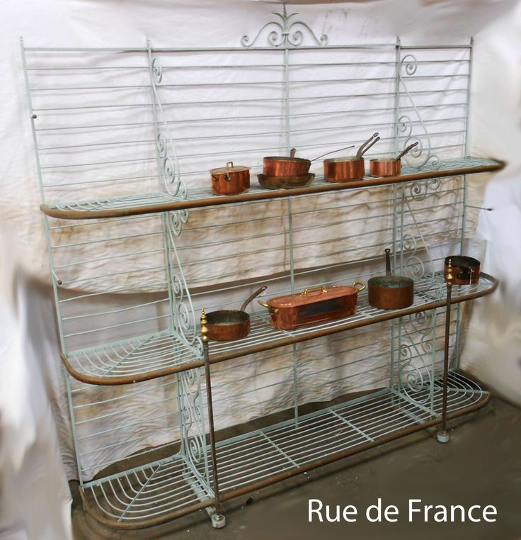 Antique French cast iron and wrought iron bakers stand